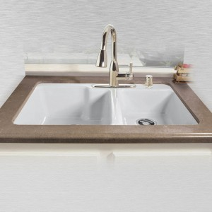 "Redondo 735-4 Offset Tile Edge Kitchen Sink   33"" x 22"" x 10"" / 8"""