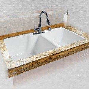 "Huntington 737-5 Offset Tile Edge Kitchen Sink 36"" x 22"" x 10"" / 8"""