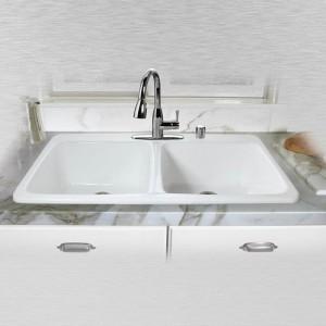 "Big Corona 743-5 Double Bowl Self Rimming Kitchen Sink 43"" x 22"" x10"""