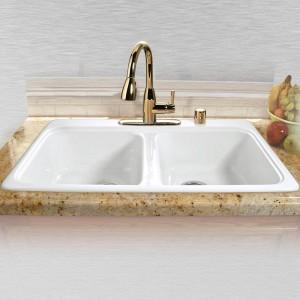 "Royal Palm 745-5 Equal Double Bowl Self Rimming Kitchen Sink   33"" x 22"" x 9.75"""