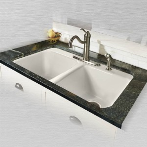 "Doheny 748-4 Equal Double Bowl Tile Edge Kitchen Sink    33"" x 22"" x 9"""