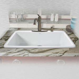 "Delray 753-4 Single Bowl Self Rimming Kitchen Sink 33"" x 22"" x 9"""