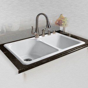 "Dockweiler 767-4 Offset Double Bowl Self Rimming Kitchen Sink 33"" x 22"" x 10.75"""