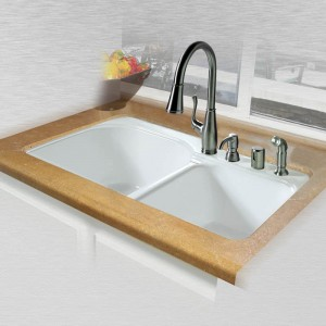 "Dockweiler 768-4 Offset Double Bowl Tile Edge Kitchen Sink 33"" x 22"" x 10.75"""