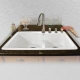 "Windansea 775-4-LD Offset Low Dam Self Rimming Kitchen Sink   33"" x 22"" x 9.75"""