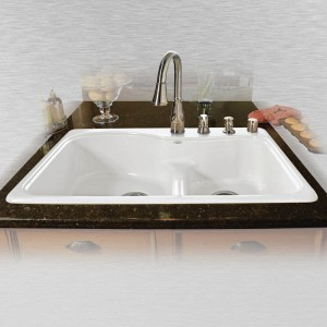 "Windansea 775-4-LD Offset Low Dam Self Rimming Kitchen Sink   33"" x 22"" x 9.75"""