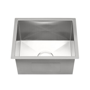 "450-HC-UM Stainless Steel Square Corner Single Bowl Undermount Sink 15 3/4"" x 17 3/4"" x 9"""