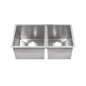 "468-HC-UM Stainless Steel Hand Crafted Double Bowl Undermount Sink 32"" x 19"" x 10"""