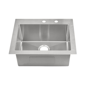 "457-9-RCTM Stainless Steel Square Corner Topmount Single Bowl Sink 25"" x 22"" x 9"""