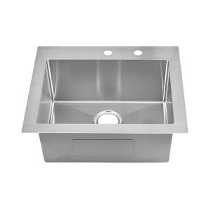 "457-9-RCTM Stainless Steel Square Corner Topmount Single Bowl Sink 25"" x 22"" x 9"""