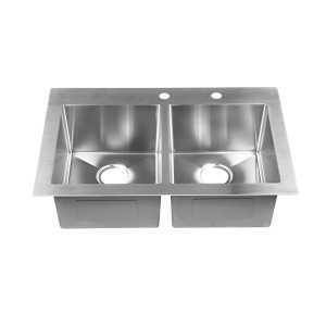 "447-9-RCTM Stainless Steel Square Corner Topmount Single Bowl Sink 33"" x 22"" x 9"""