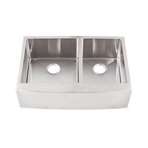 "468-UM-OS-FS Stainless Steel Apron Double Bowl Undermount Sink 32 7/8"" x 22"" x 10"""