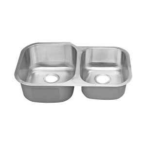 "435-R-UM Stainless Steel Double Bowl Undermount Sink 31 1/2"" x 20 1/2"" x 9"" / 7"""