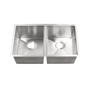 "444-UM-SS Stainless Steel Hand Crafted Double Bowl Undermount Sink 32"" x 19"" x 10"""