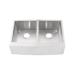 "444-UM-FS Stainless Steel Apron Double Bowl Undermount Sink 32 7/8"" x 22 1/4"" x 10"""