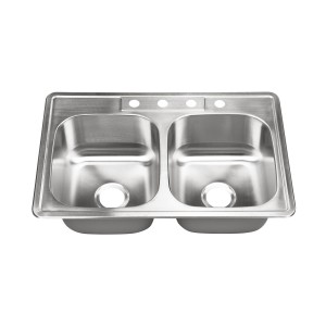 "447-4 Stainless Steel Top Mount / Self-Rimming Double Bowl Sink 33"" x 22"" x 9"""