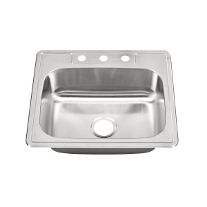 "457-12-RCTM Stainless Steel Top Mount / Self Rimming Single Bowl Sink 25"" x 22"" x 9"""
